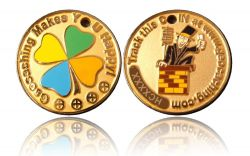 Happy Caching - Chimney Sweeper Geocoin Foggy Gold