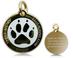 Cacher's Dog Geocoin Poliertes Gold WEISS