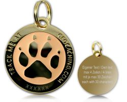Cacher's Dog Geocoin Poliertes Gold GLOW