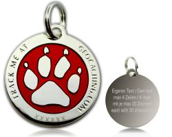 Cacher's Dog Geocoin Polished Silver RED