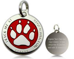 Cacher's Dog Geocoin Poliertes Silber ROT