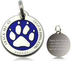 Cacher's Dog Geocoin Poliertes Silber BLAU