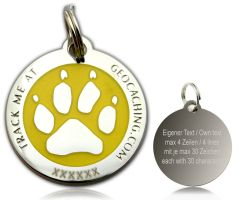 Cacher's Dog Geocoin Polished Silver YELLOW