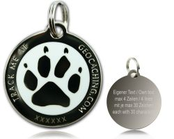 Cacher's Dog Geocoin Polished Silver WHITE