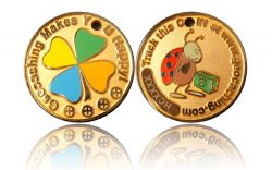 Happy Caching - Ladybird Geocoin Foggy Gold