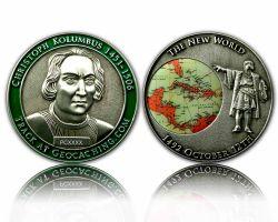 Christoph Kolumbus Geocoin Antik Silber