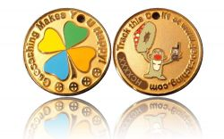 Happy Caching - Toadstool Geocoin Foggy Gold