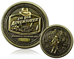 The Real Adventurer Jungle Geocoin Antique Gold