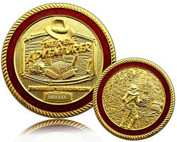The Real Adventurer Jungle Geocoin Satin Gold LE 150