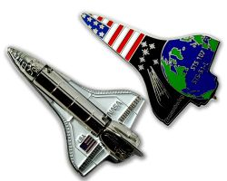 Space Shuttle Geocoin 3D Silber