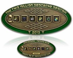2 Million Geocache Geocoin Antik Gold