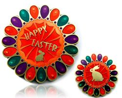Happy Easter Geocoin Antique Gold