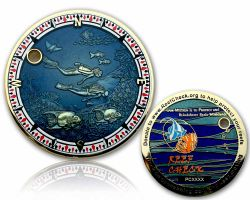 Reef Check Geocoin Poliertes Gold