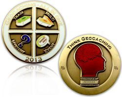 Geocaching - All In One Geocoin 2013 Antik Gold