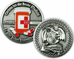 Cachen ist die beste Medizin Geocoin Antik Silber
