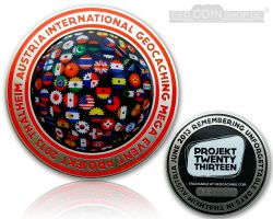 Projekt Twenty Thirteen Event Geocoin Antik Silber LE 200