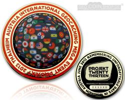 Projekt Twenty Thirteen Event Geocoin Gold / GLOW LE 150