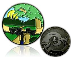 Cache'n'Bike Geocoin Black Nickel