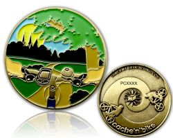 Cache'n'Bike Geocoin Antik Gold LE 100