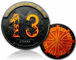 13 Jahre Geocaching Geocoin Black Nickel LE 100