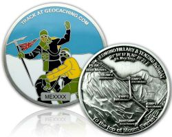 Mount Everest Geocoin Antik Silber