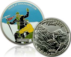 Mount Everest Geocoin Satin Silber XLE 75