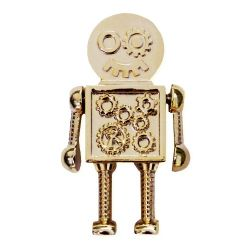 Steampunk Robot Geocoin Gold Version inkl Travel Tag