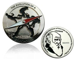 The Evolution of a Geocacher Geocoin Polished Silver LE 150