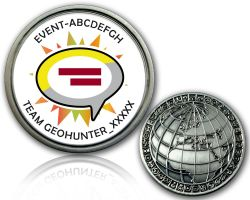 Geocaching Event Geocoin V2 with your Text