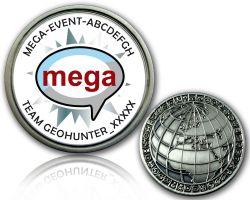 Geocaching Mega Event Geocoin V1 mit deinem Text