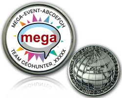 Geocaching Mega Event Geocoin V2 with your Text