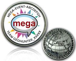Geocaching Mega Event Geocoin V2 mit deinem Text