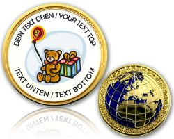 Happy Birthday - Teddy Geocoin with your Text