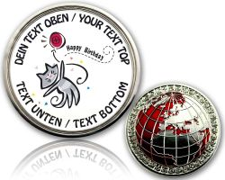 Happy Birthday - Kitty Geocoin with your Text