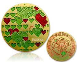 True and Eternal Love Geocoin Satin Gold