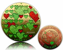 True and Eternal Love Geocoin Antique Gold