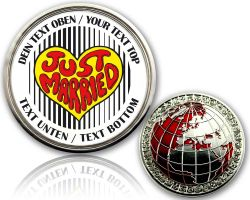 Just Married - Heart Geocoin with your Text