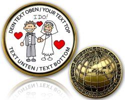 Hochzeits Paar Geocoin mit deinem Text