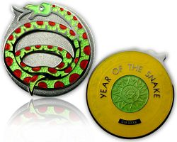 Year of the Snake Geocoin Poliertes Silber / Topas XLE 75