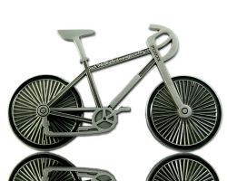 Bicycle Geocoin Antique Silver (functional)