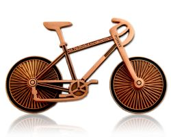 Bicycle Geocoin Antique Copper (functional)