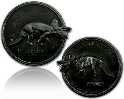 Triceratops Dino Geocoin Black Nickel XLE 75
