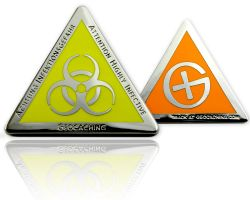 Highly Infective Geocoin Polished Silver ORANGE XLE 75