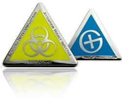 Highly Infective Geocoin Polished Silver BLUE XLE 75