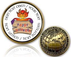 Happy Halloween Geocoin with your Text