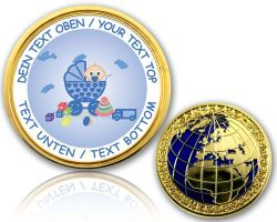 Birth (Boy) Geocoin with your Text