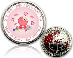 Birth (Girl) Geocoin with your Text