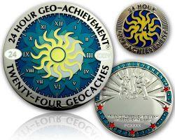 24 Stunden 24 Geocaches Geo Achievement Geocoin inkl PIN