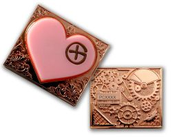 Steampunk Herz Geocoin Pink Kupfer Version