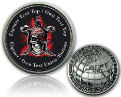 Pirate Skull Geocoin with your Text